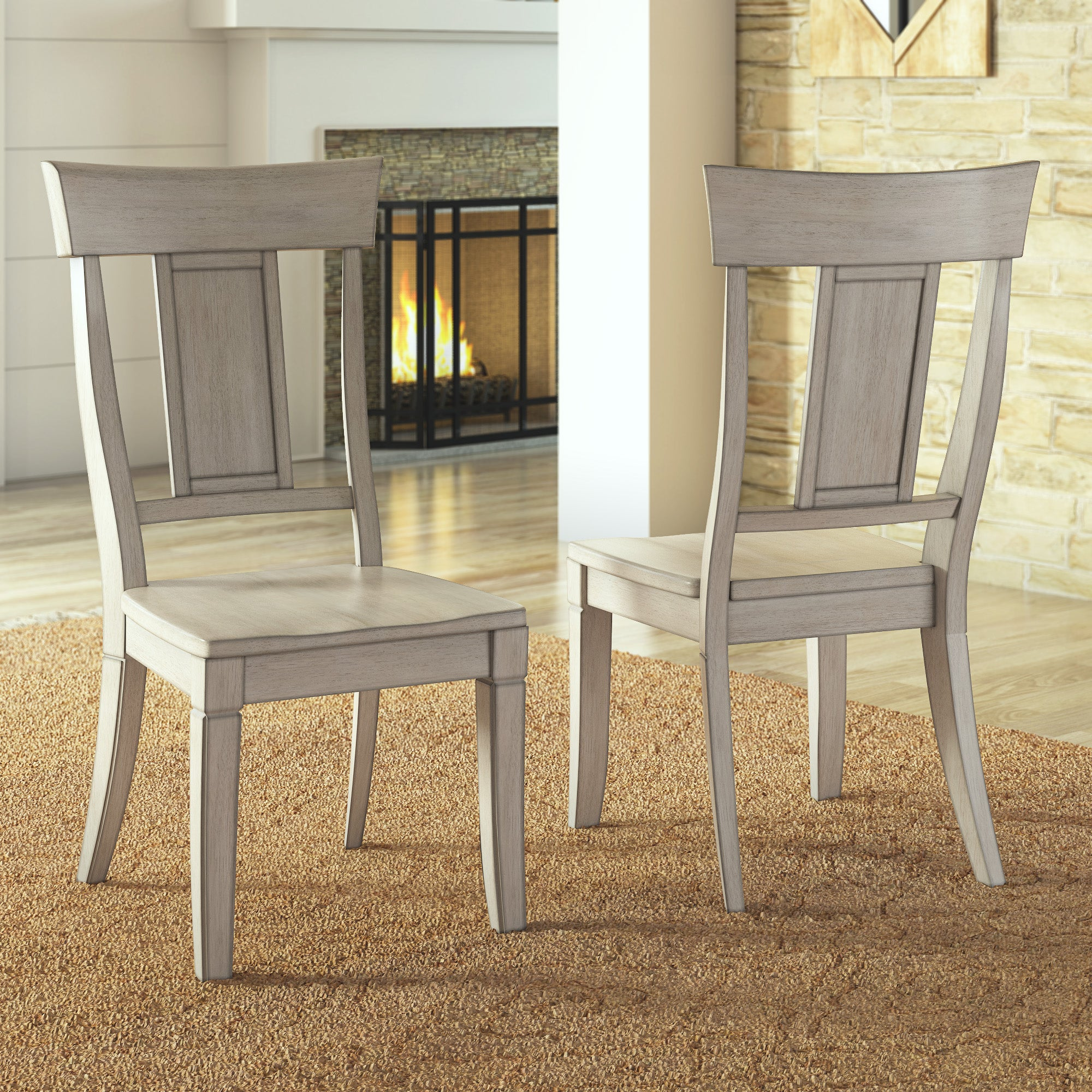 Panel Back Wood Dining Chair (Set of 2) - Antique White