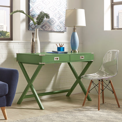X-Base Wood Accent Campaign Writing Desk - Meadow Green