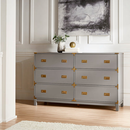 Gold Accent Campaign Dresser - 6-Drawer, Frost Grey