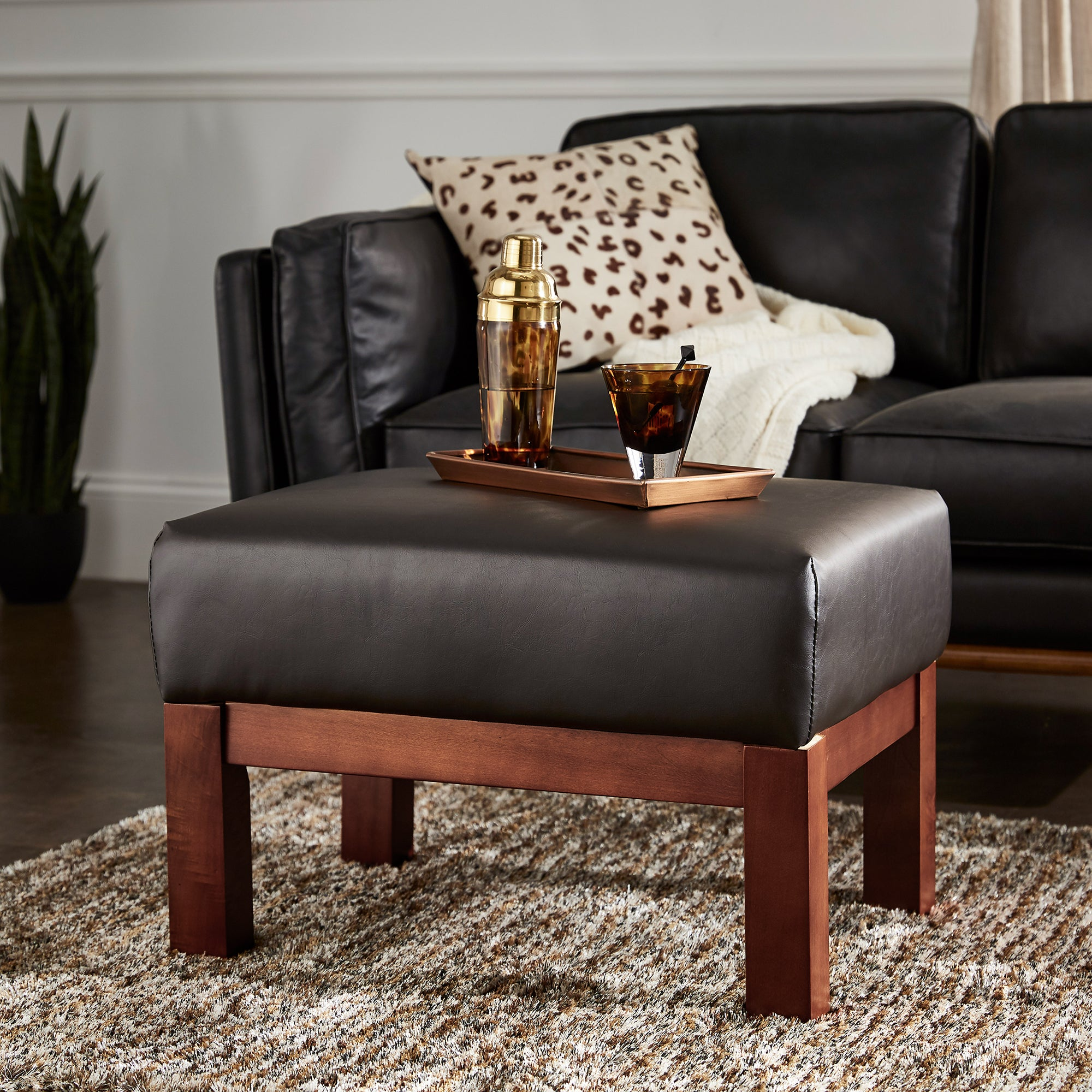 Mission-Style Wood Ottoman - Dark Brown Faux Leather, Oak Finish