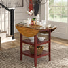 Antique Finish 2 Side Drop Leaf Round Counter Height Table - Oak and Antique Berry Finish