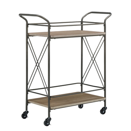 Bronze Finish and Wood Double-Cross Bar Cart