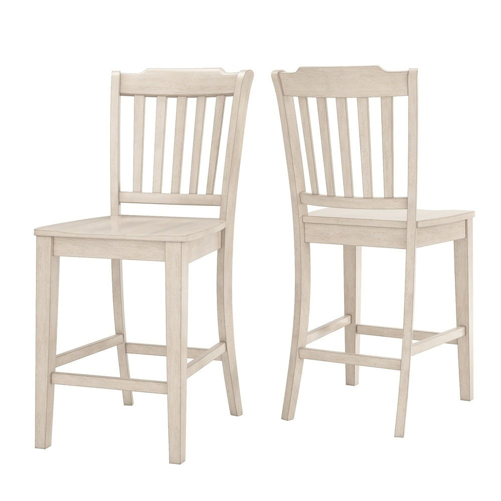 Slat Back Wood Counter Height Chair (Set of 2) - Antique White