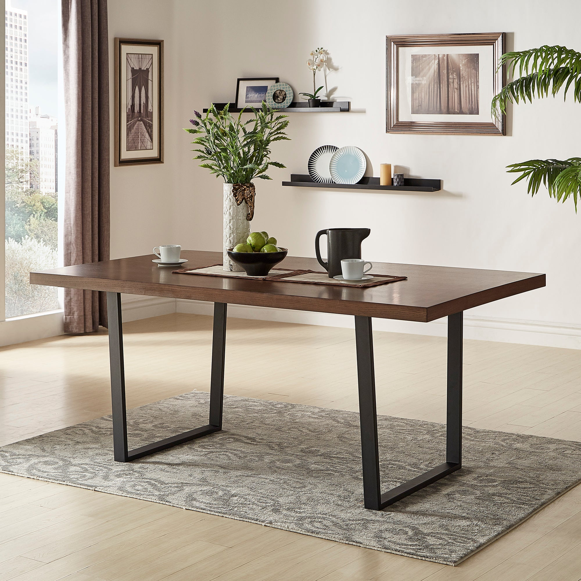 Metal Sled Base Dining Table - Dark Walnut Finish Top