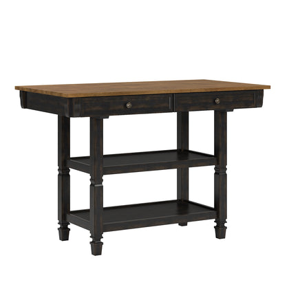 Two-Tone Antique Kitchen Island Buffet - Oak Top with Antique Black Base