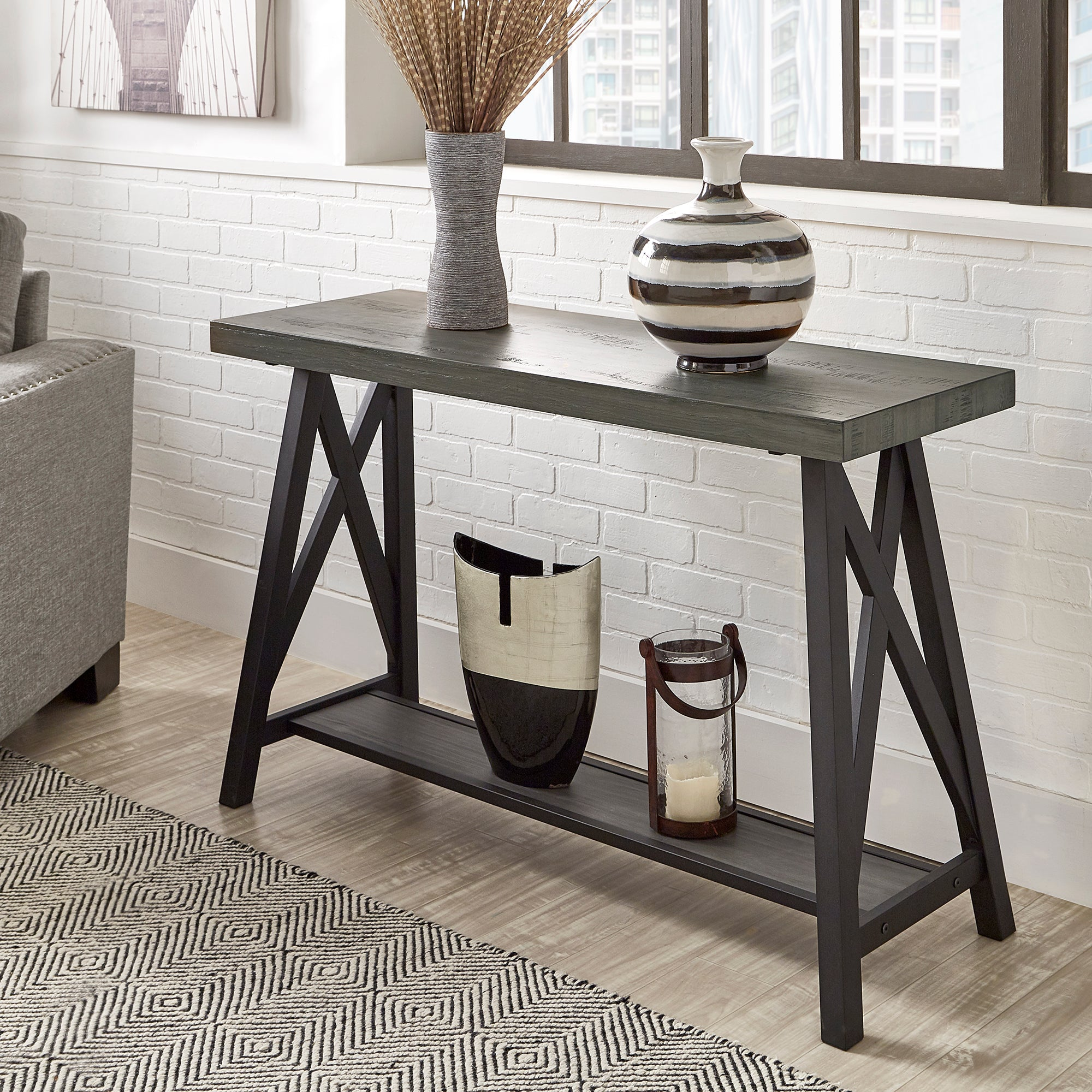 Sofa Table with Shelf - Grey