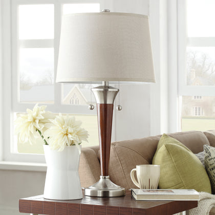 Brushed Nickel Contoured Base 2-light Accent Table Lamp