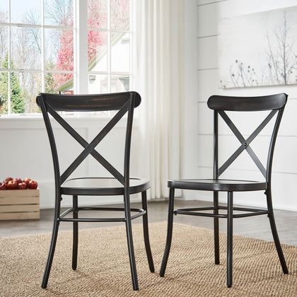 Antique Black Metal Dining Chairs (Set of 2)