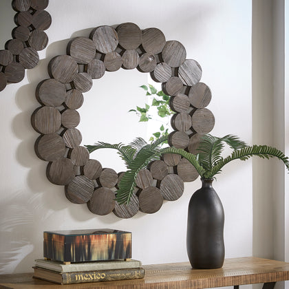 Dark Brown Reclaimed Wood Round Wall Mirror - Medium