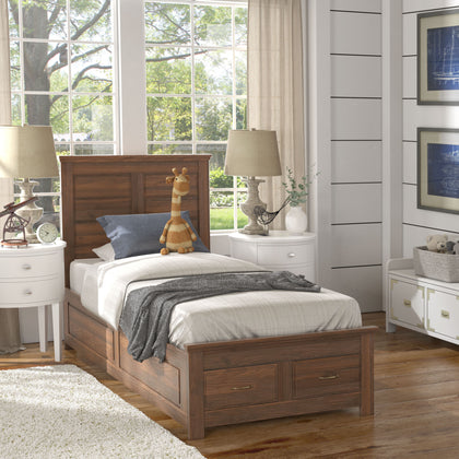 Wood Panel Platform Bed with Storage - Twin Size - Walnut Finish