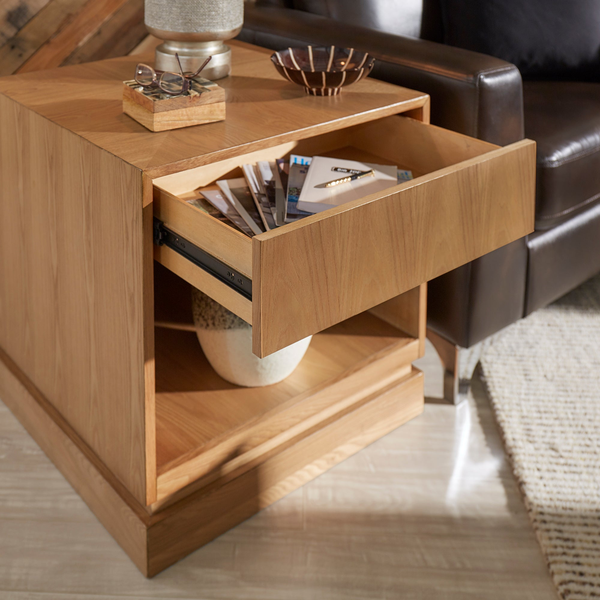 1-Drawer Wood End Table - Natural Finish