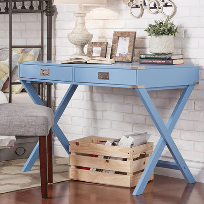 X-Base Wood Accent Campaign Writing Desk - Blue