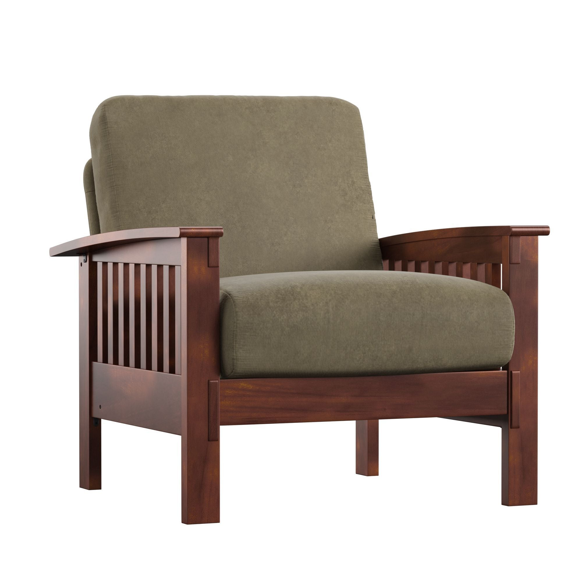 Mission-Style Wood Accent Chair - Olive Microfiber, Oak Finish