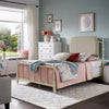 Sandstone Finish Taupe Linen Metal Queen Bed (Queen Size)