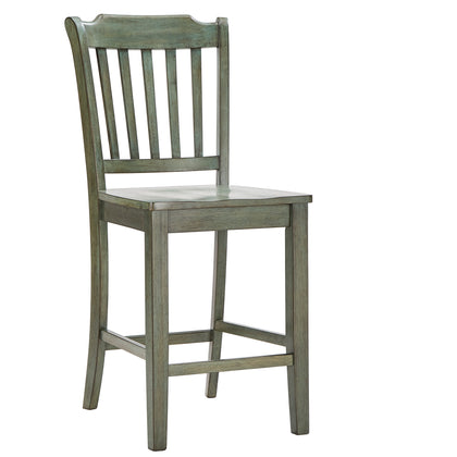 Slat Back Wood Counter Height Chair (Set of 2) - Antique Sage