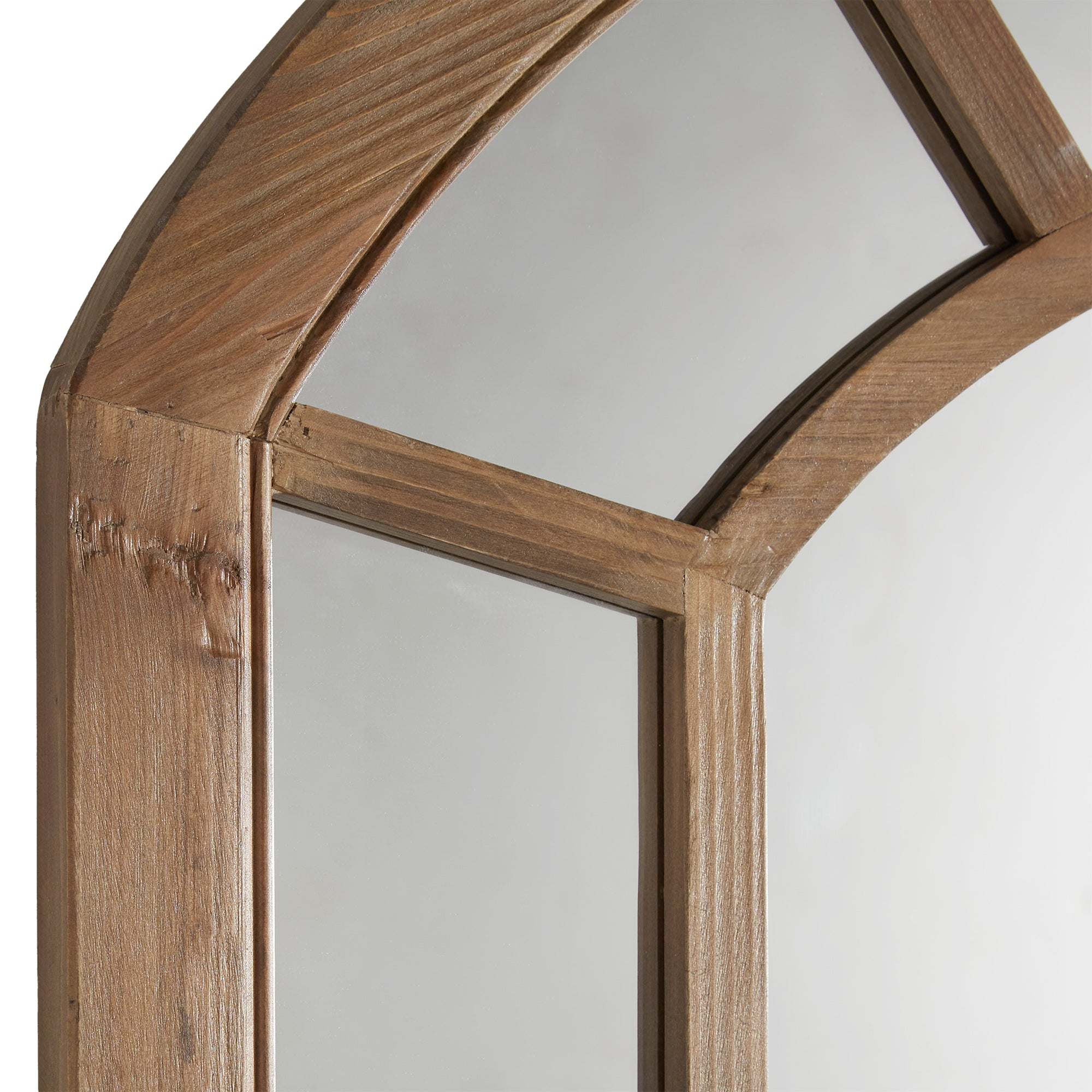 Reclaimed Wood Arched Windowpane Wall Mirror
