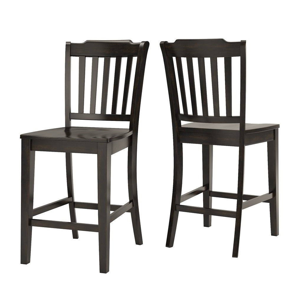 Slat Back Wood Counter Height Chair (Set of 2) - Antique Black