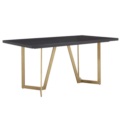 Black and Distressed Gold Finish Dining Table