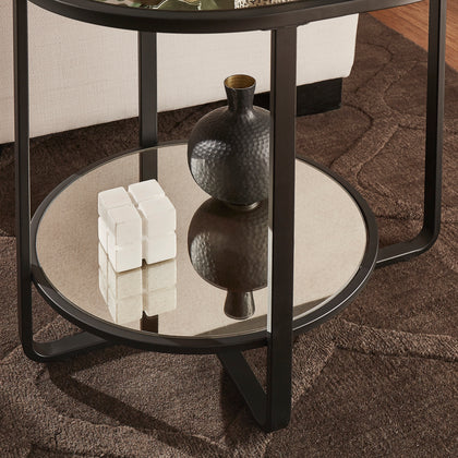 Oval End Table with Antique Mirror Top