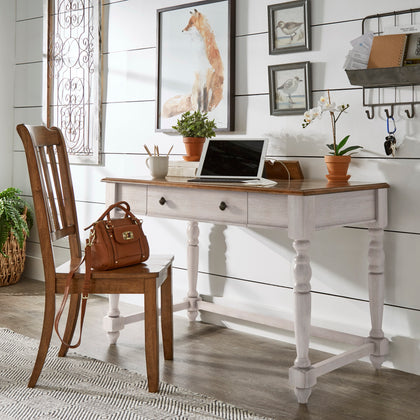 Antique 1-Drawer Desk with Charging Station - Antique White