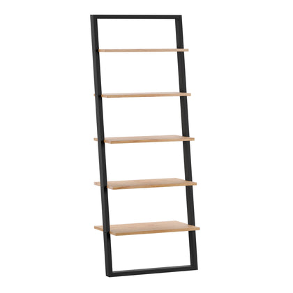 Two-Tone Leaning Ladder Bookcase - Black and Oak Finish