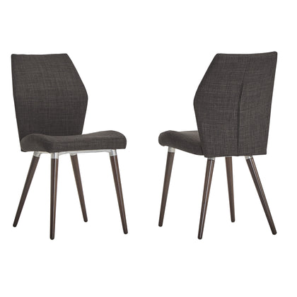 Contoured Upholstered Dining Chairs (Set of 2) - Dark Grey Linen, Espresso Finish