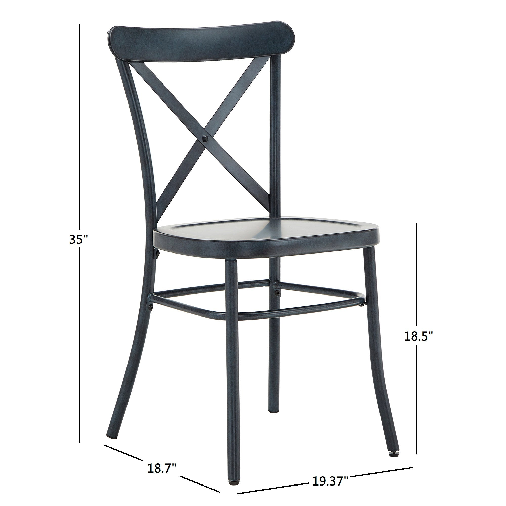 Metal Dining Chair (Set of 2) - Antique Denim Finish