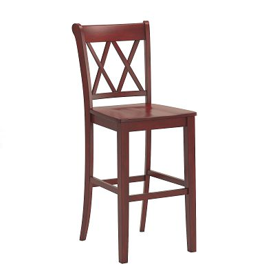 Antique Berry Finish With Double X Back Bar Height Chairs (Set of 2)