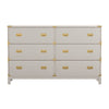Gold Accent Campaign Dresser - 6-Drawer, White