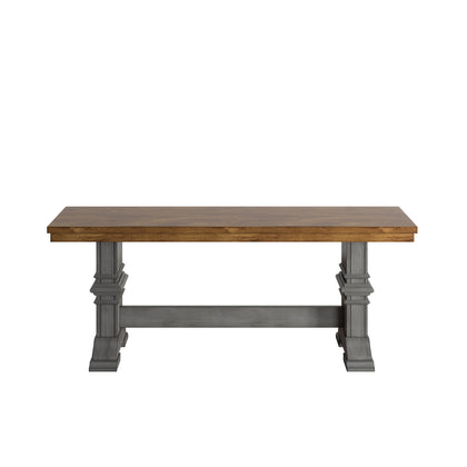 Two-Tone Trestle Leg Wood Dining Bench - Oak Top with Antique Grey Base