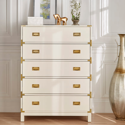 5-Drawer Gold Accent Campaign Chest - White