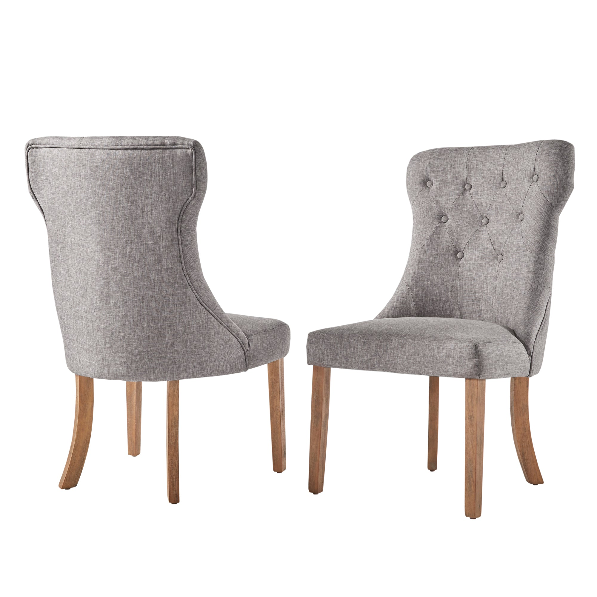 Button Tufted Dining Chair (Set of 2) - Grey Color Finish