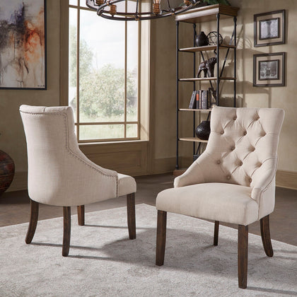 Beige Linen Curved Back Tufted Dining Chair (Set of Two)