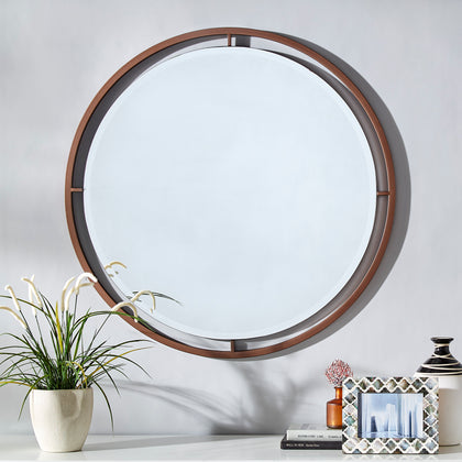 Floating Round Wall Mirror - Bronze Finish