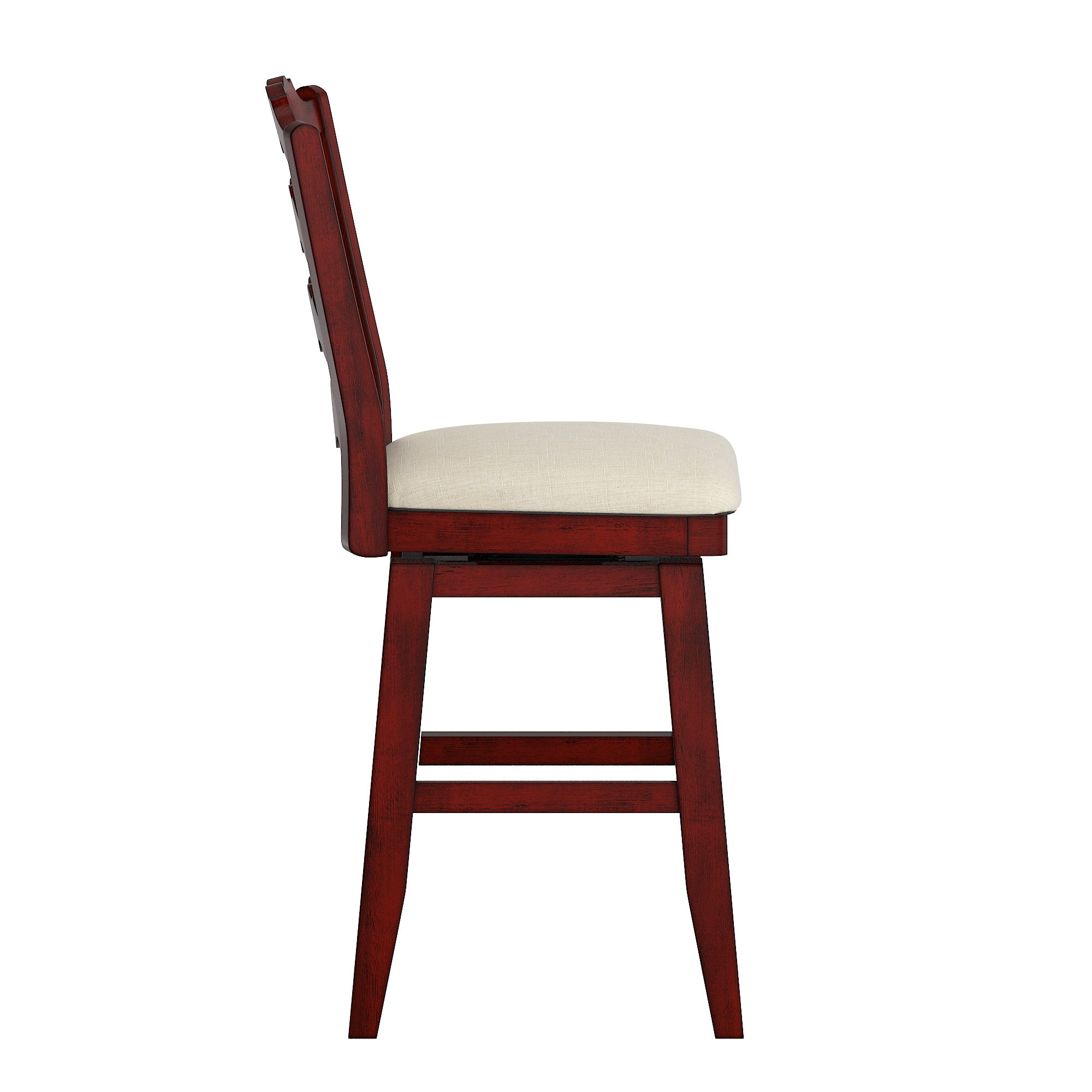 French Ladder Back Counter Height Swivel Chair - Antique Berry