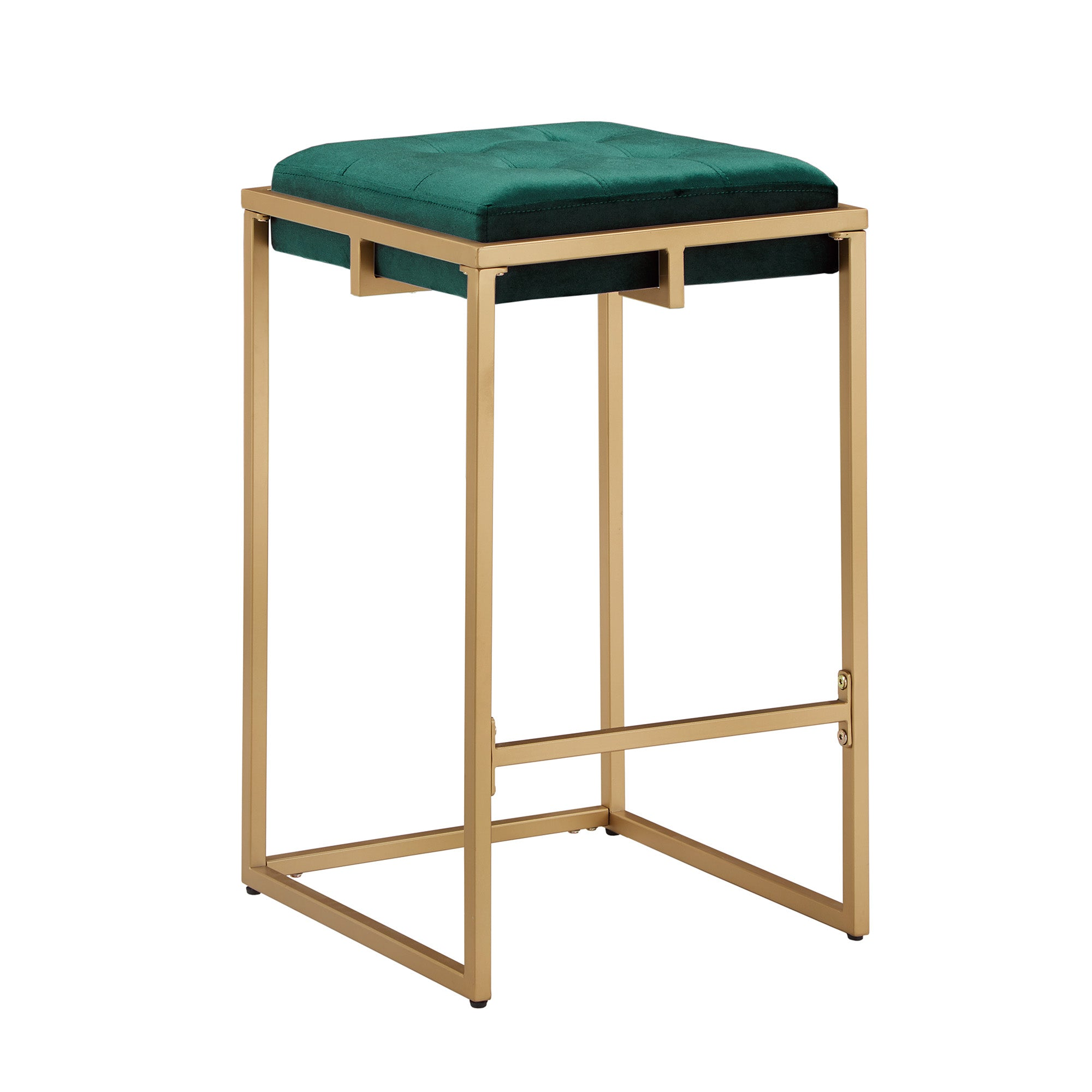 Gold Finish Velvet Button Tufted Bar Stools (Set of 2) - Counter Height - Dark Green