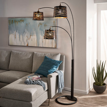 3-Light Tree Floor Lamp - Black Finish