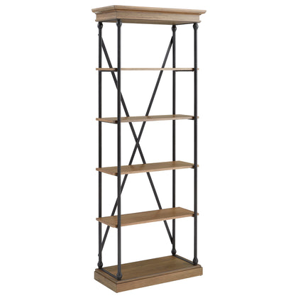Cornice Etagere Bookcase - Brown Color Finish