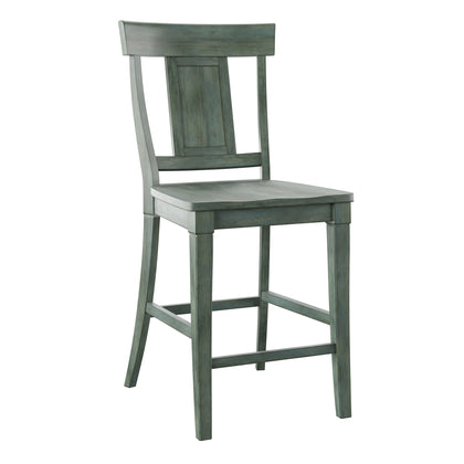 Panel Back Wood Counter Height Chair (Set of 2) - Antique Sage