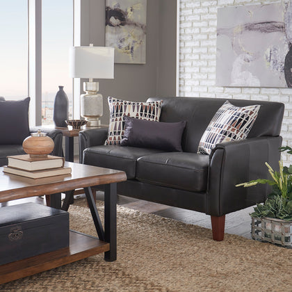 Modern Sofa - Dark Brown Faux Leather, Cherry Finish