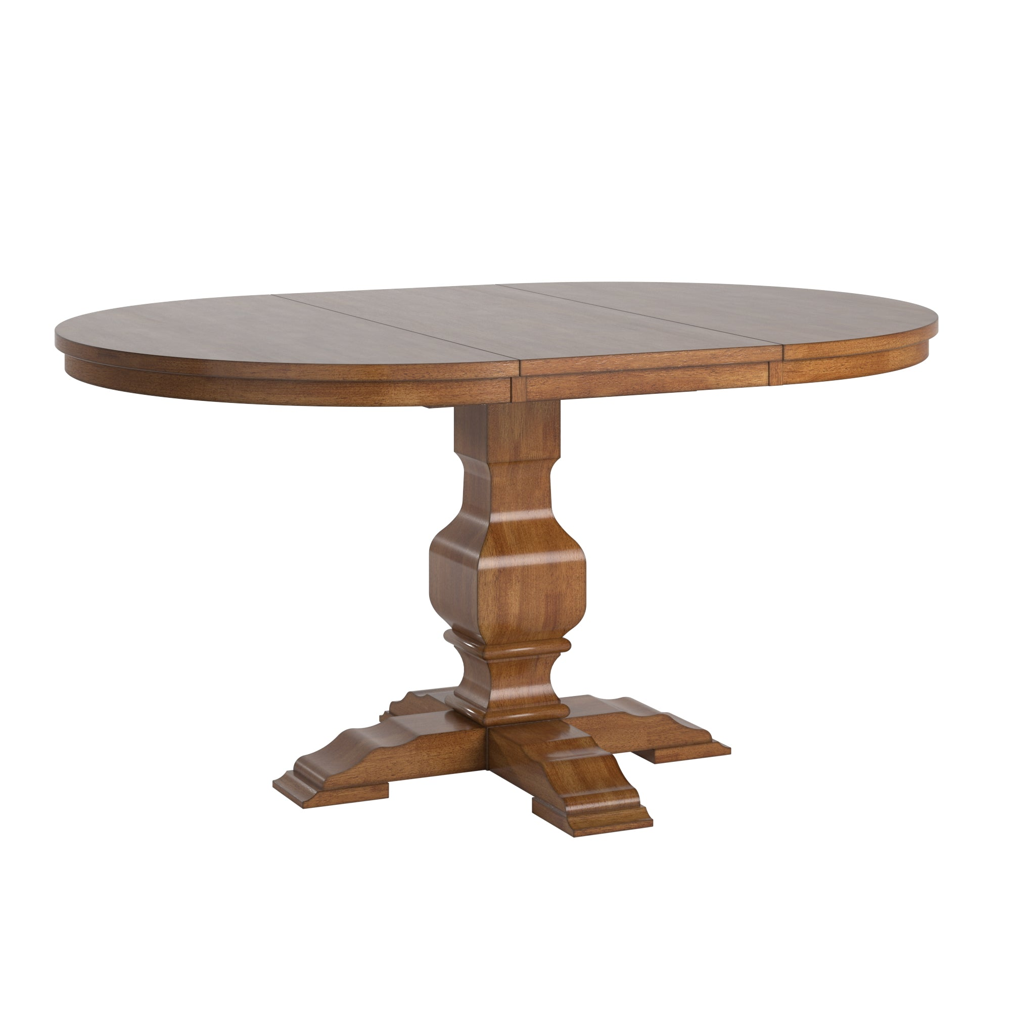 Two-Tone Oval Solid Wood Top Extending Dining Table - Oak Top with Oak Base