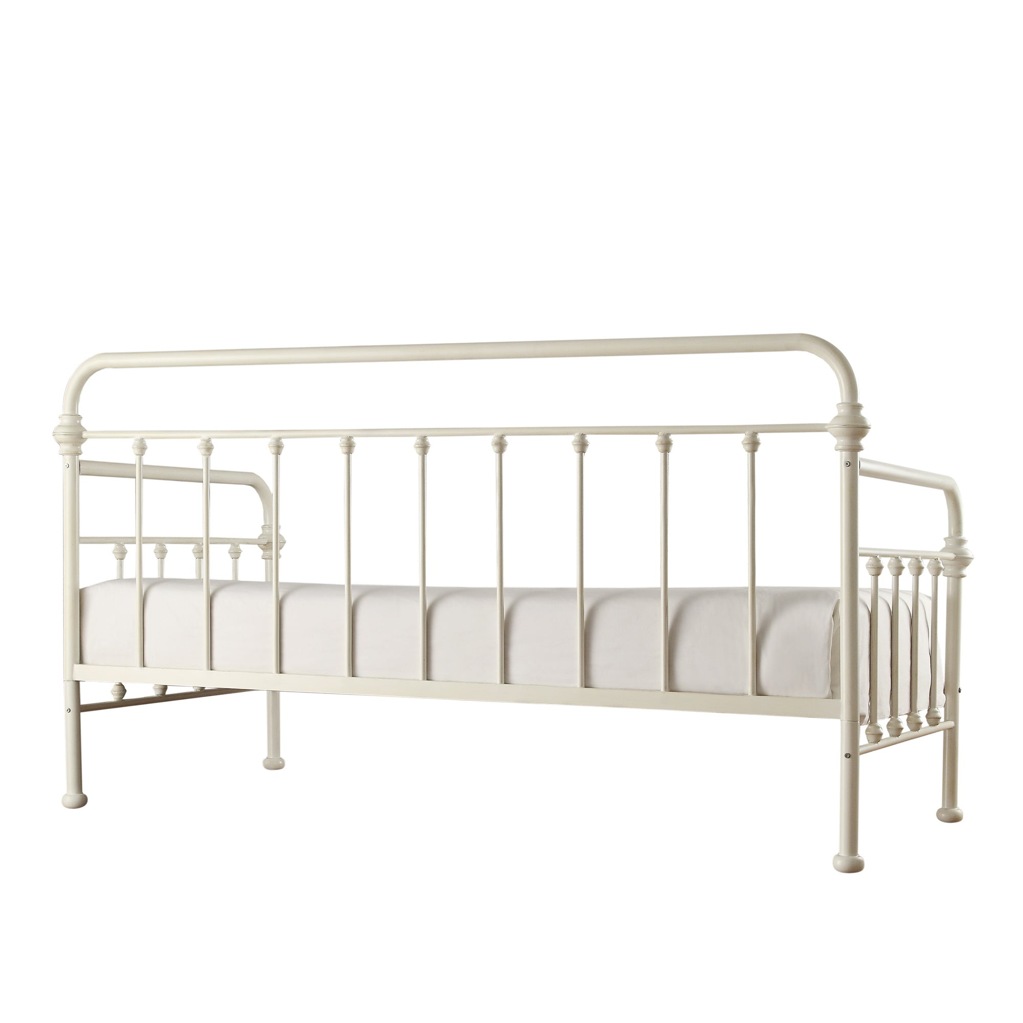 Antique Iron Metal Twin Daybed - White