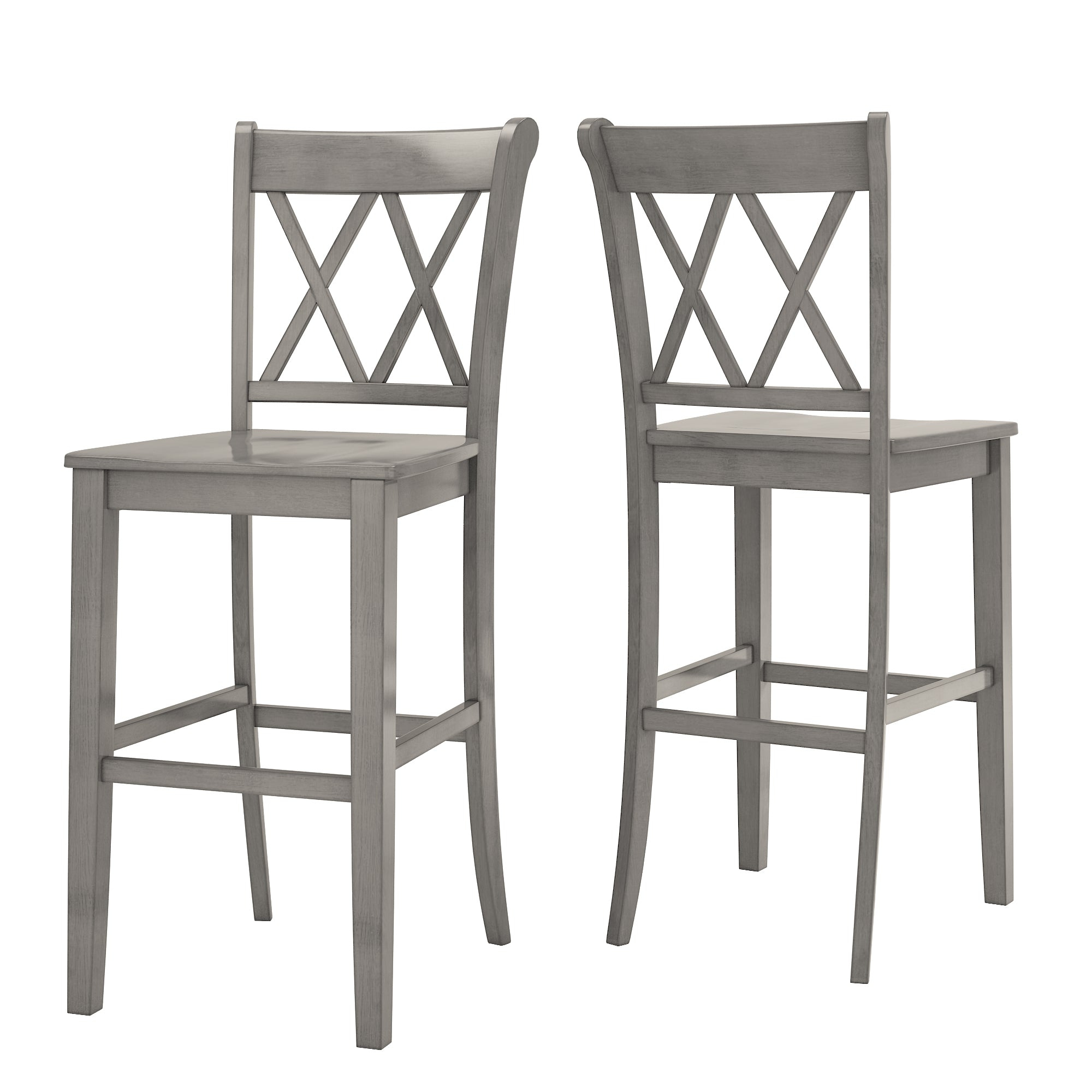 Antique Grey Finish With Double X Back Bar Height Chairs (Set of 2)