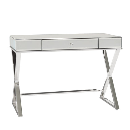 X-Base Mirrored Desk with Drawer - Chrome