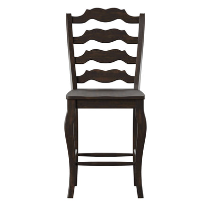 French Ladder Back Wood Counter Height Chair (Set of 2) - Antique Black