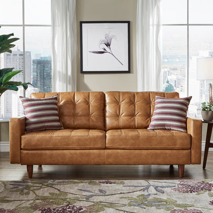 Caramel Leather Gel Sofa