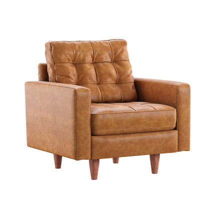 Caramel Leather Gel Accent Chair