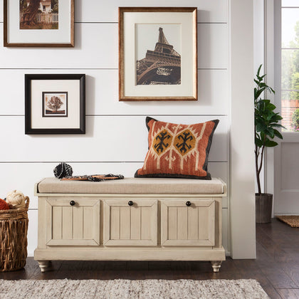 Storage Bench with Linen Seat Cushion - Antique White Finish