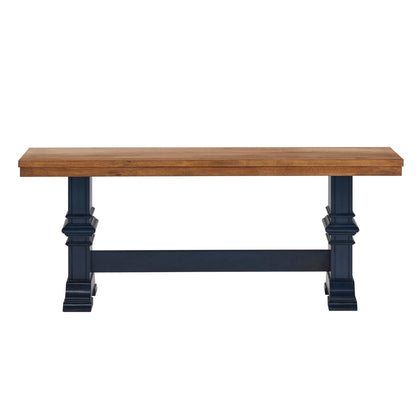 Two-Tone Trestle Leg Wood Dining Bench - Oak Top with Antique Denim Base