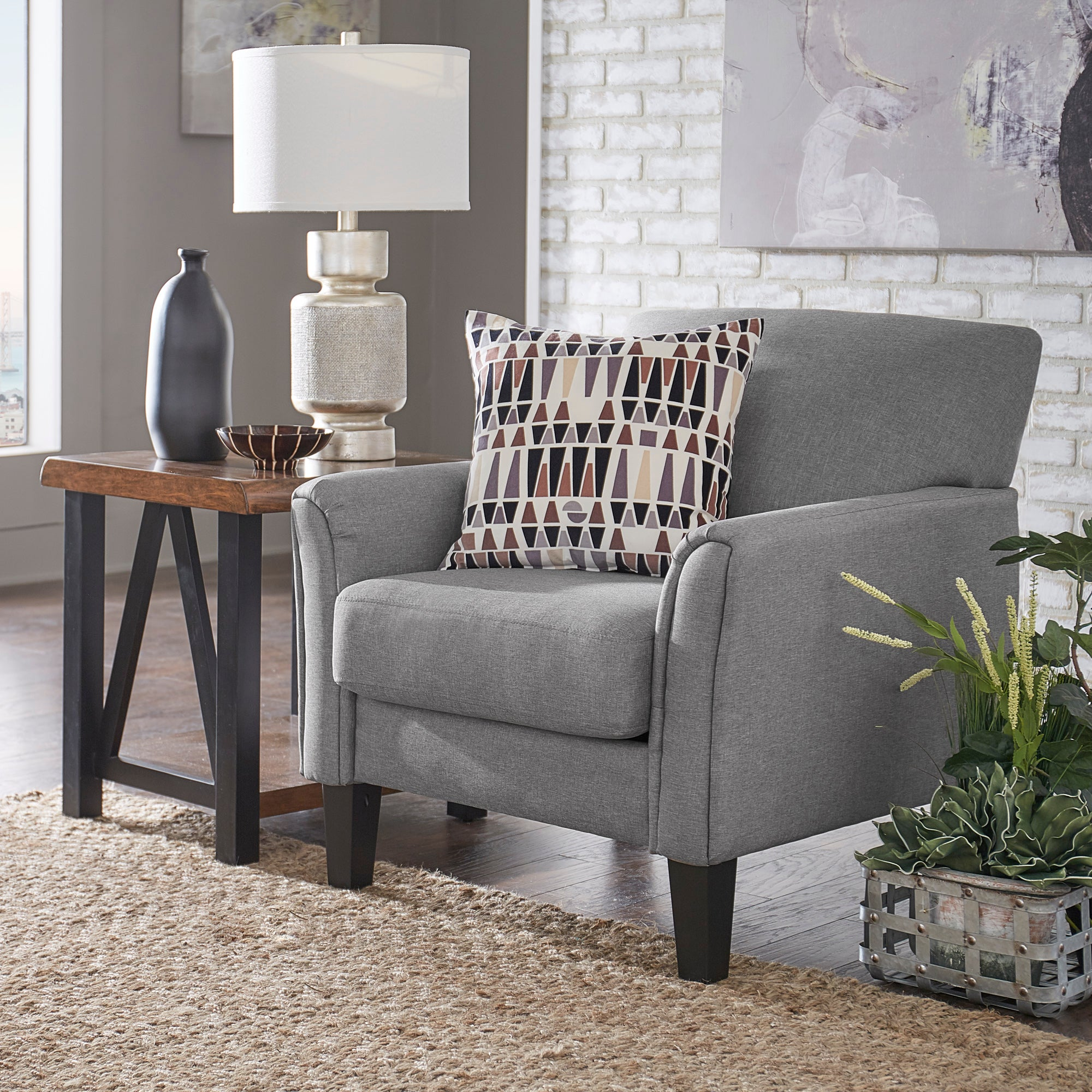 Modern Accent Chair - Grey Linen